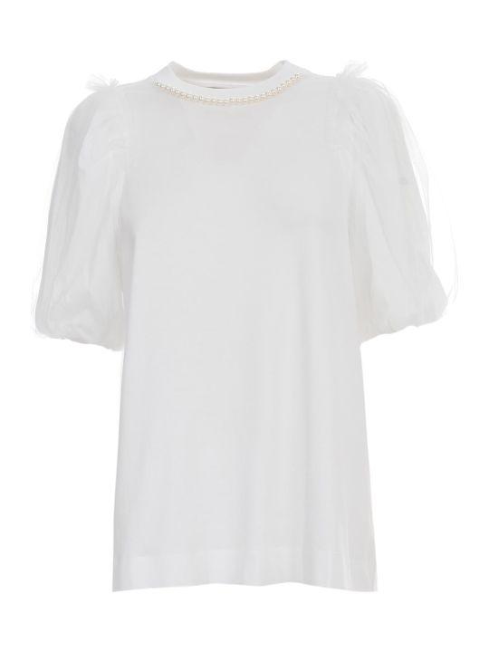 Simone Rocha Inverted Puff Sleeve Tshirt W/beading