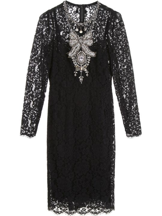 Dolce & Gabbana Lace Dress With Crystals