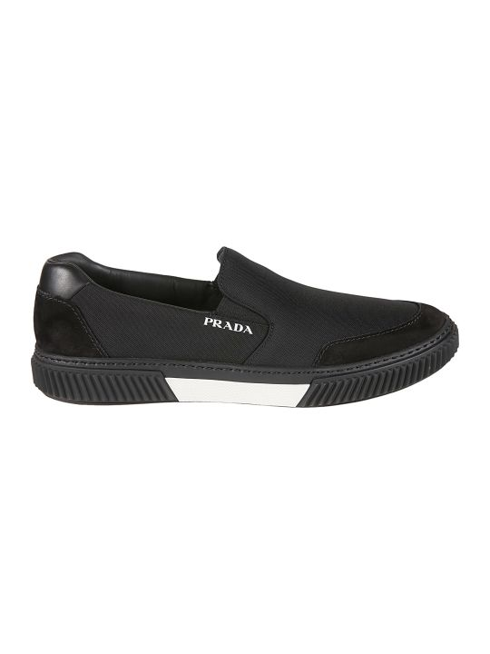 Prada Linea Rossa Side Logo Stitched Detail Loafers