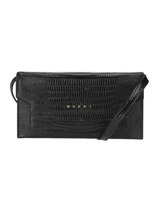 Marni Crocodile-embossed Bellows Crossbody Bag