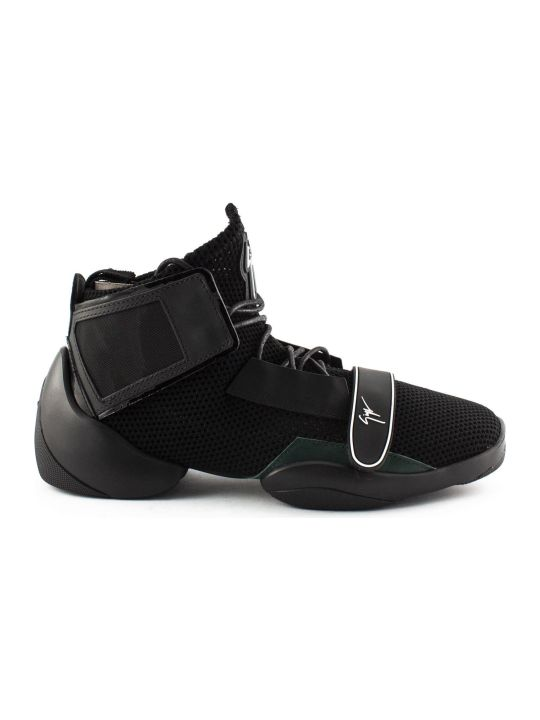 Giuseppe Zanotti Black Stretch Fabric 'light Jump' High-top Sneaker.