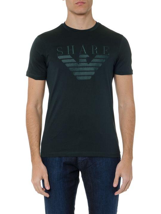 Emporio Armani Dark Green Cotton T Shirt With Logo Print