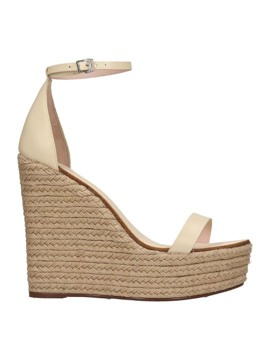 Schutz Wedges In Beige Leather