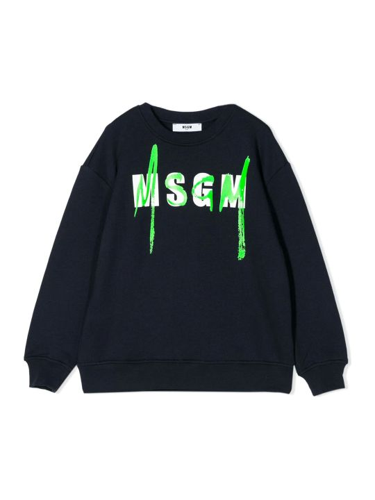 MSGM Blue Cotton Sweatshirt