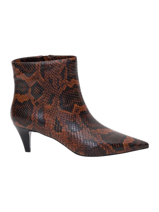 Ash Pythn Printed Leather Booties