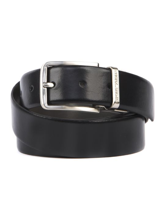 Emporio Armani Black Leather Belt