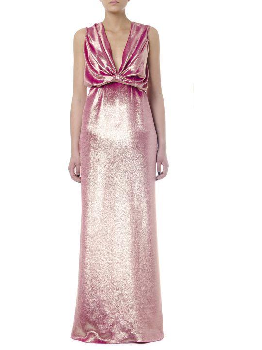 Rhea Costa Metal Pink Silk Droped Long Dress