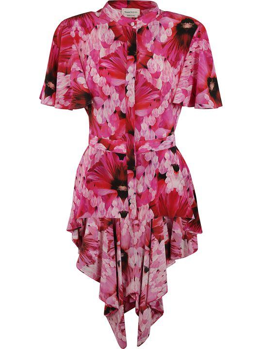 Alexander McQueen Asymmetric Hem Floral Print Shirt