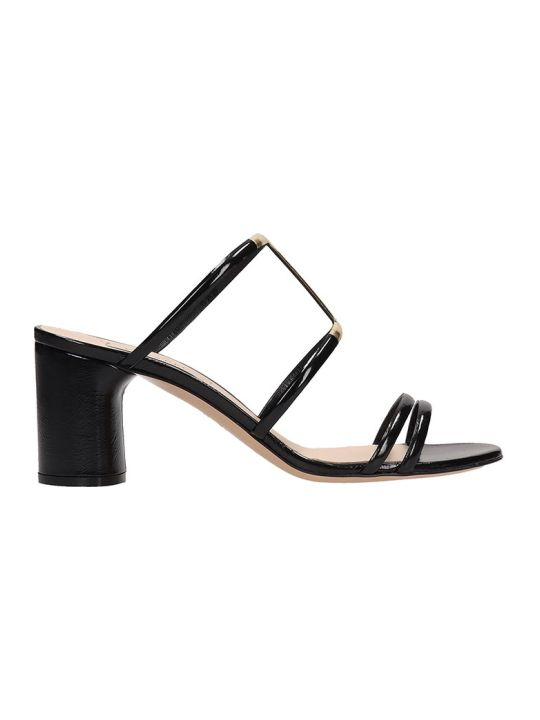 Casadei Black Patent Leather Sandals H