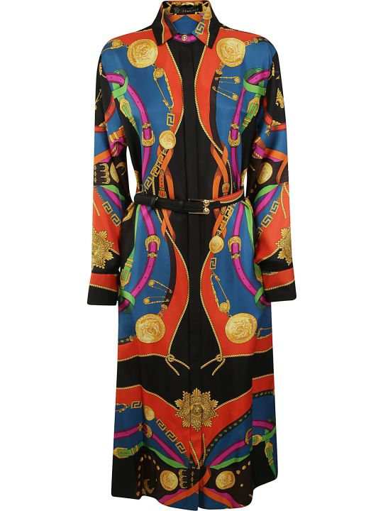Versace Long Belted Printed Dress