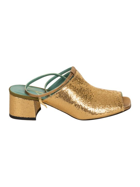 Paola D'Arcano Metallic Backstrap Sandals