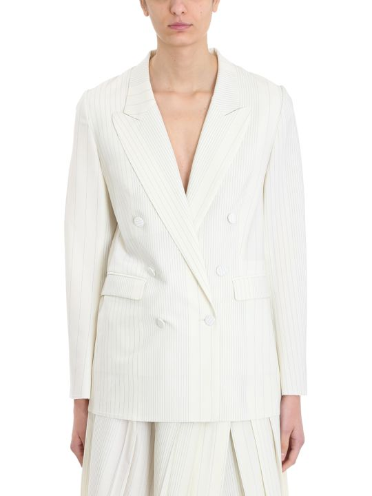 Maison Flaneur White Wool Stripes Blazer