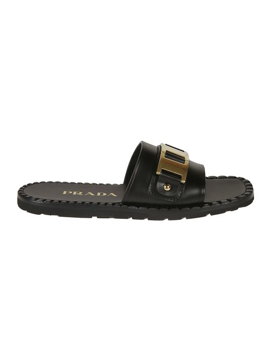 Prada Gold Metallic Detail Sliders