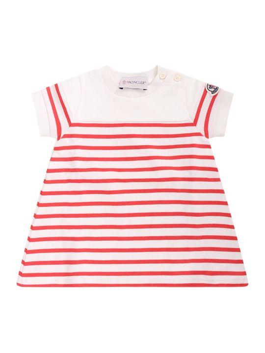 Moncler Ivory Baby Girl Dress With Orange Stripes