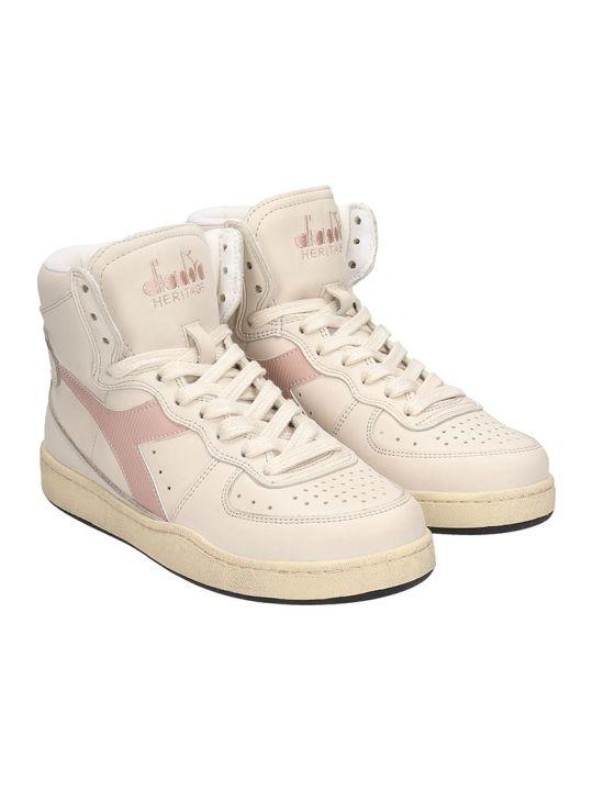 Diadora Basket Used Sneakers In Beige Leather