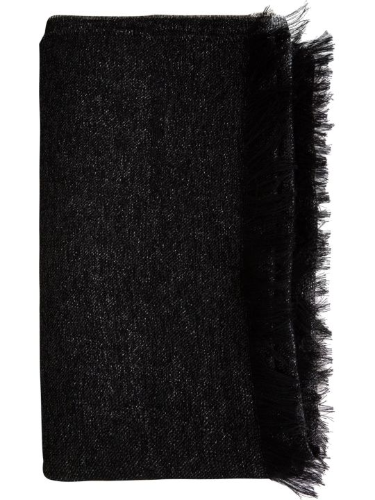 Emporio Armani Fringed Edge Embroidered Logo Scarf
