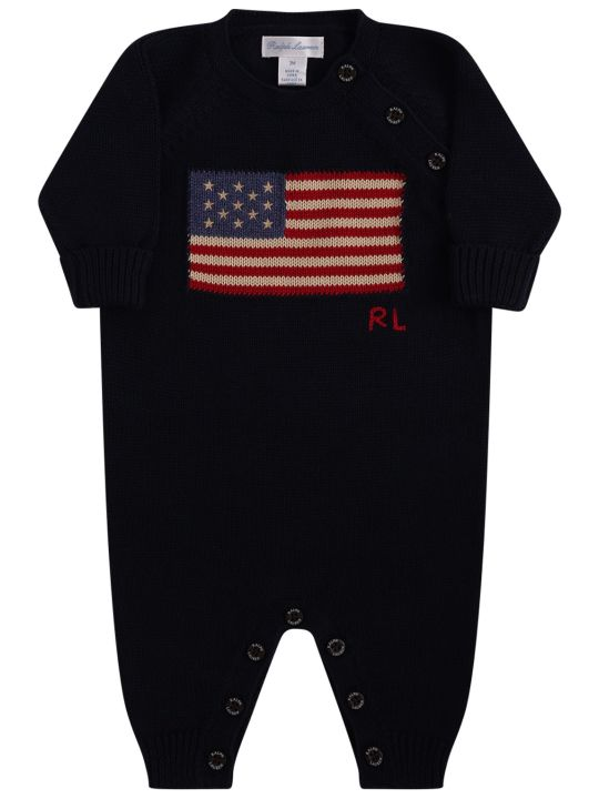 Ralph Lauren Blue Babygrow With Flag