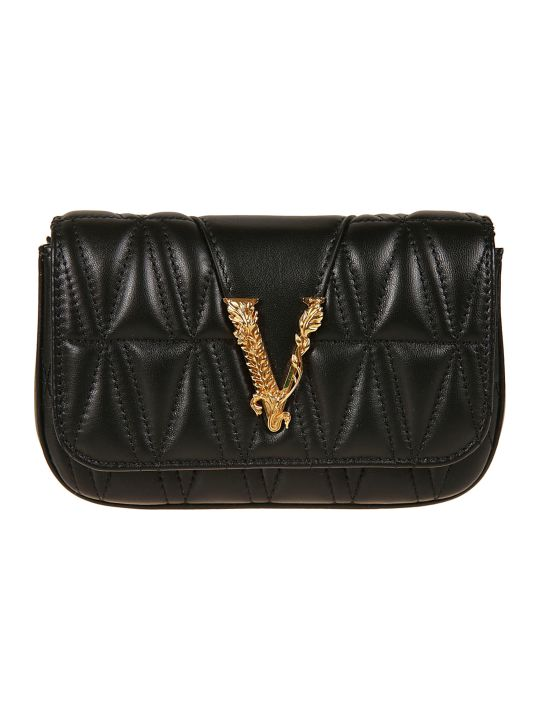 Versace Logo Plaque Padded Shoulder Bag