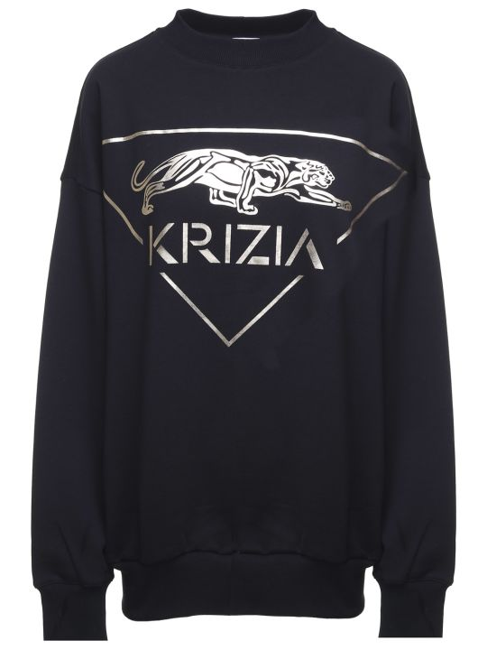 Krizia Metallic Panther-print Cotton Oversized Sweatshirt
