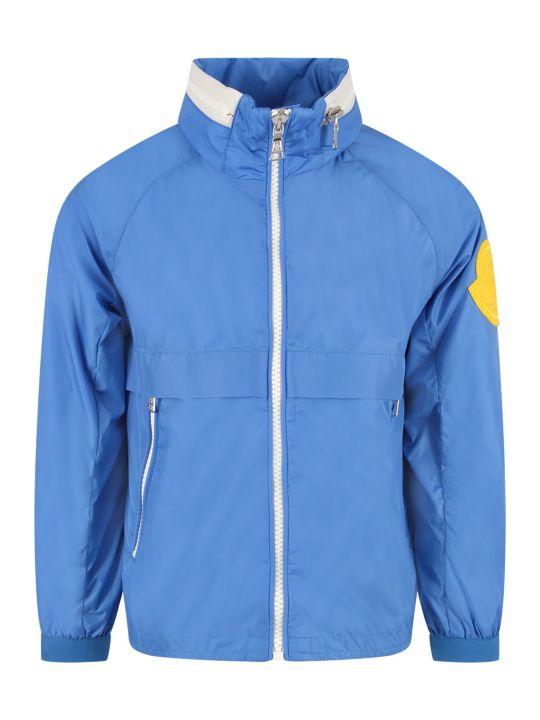 Moncler Light Blue Boy Windbreaker With Yellow Logo