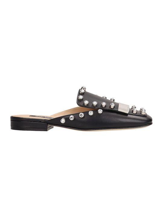 Sergio Rossi Black Leather Flat Sandals
