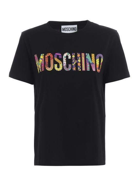 Moschino Multicolour Logo Print Black Tee 07130540a8555