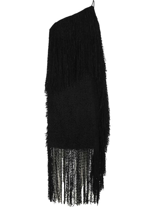 MSGM One Shoulder Tweed Fringed Dress