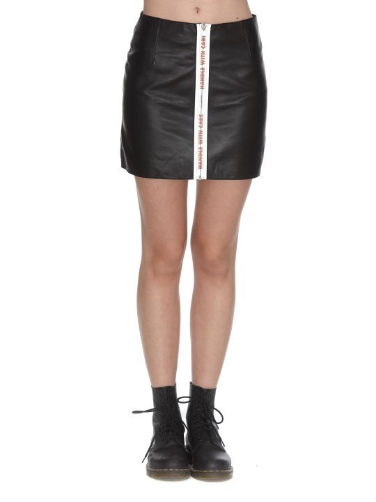 HERON PRESTON A-line Leather Mini Skirt