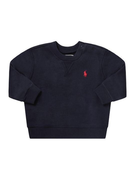 Ralph Lauren Blue Babyboy Sweatshirt With Red Pony Logo