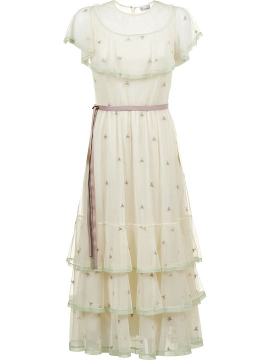RED Valentino Pastel Flower Embroidery Dress