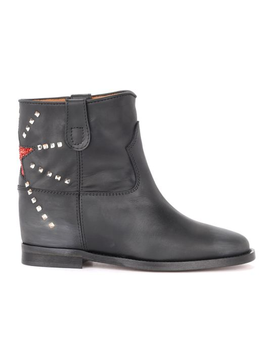 Via Roma 15 Ankle Boot In Black Leather With Red Lurex Star