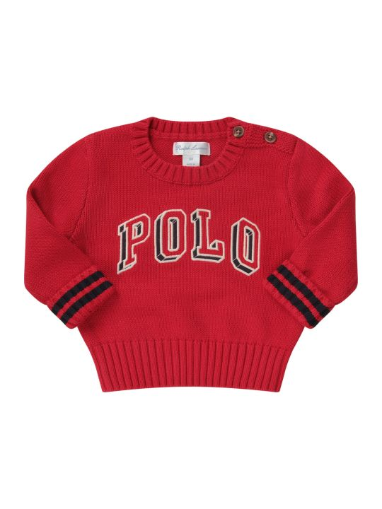 Ralph Lauren Red Babyboy Sweater With Logo