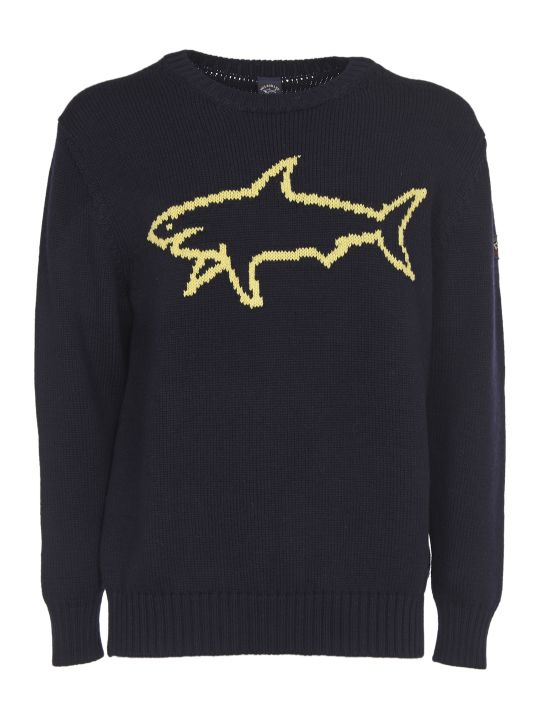 Paul&Shark Blue Sweater With Yellow Shark Logo