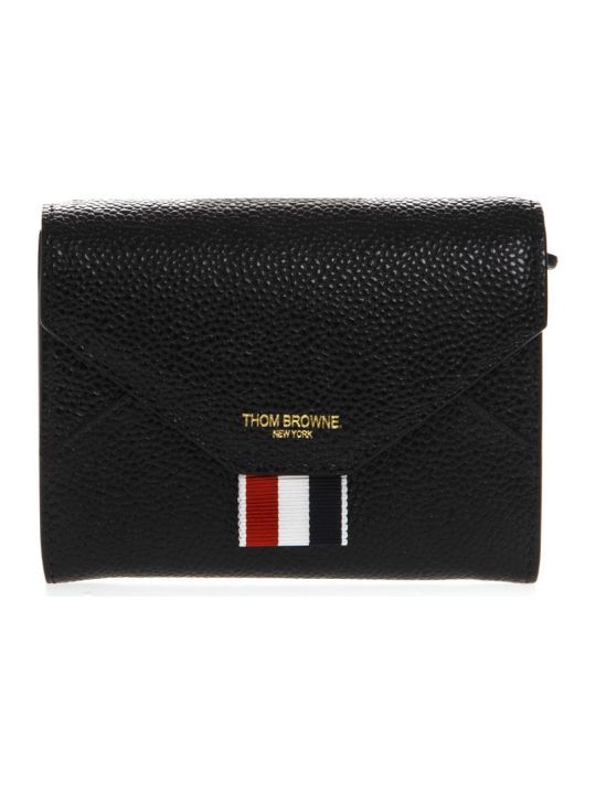 Thom Browne Black Leather Logo Wallet