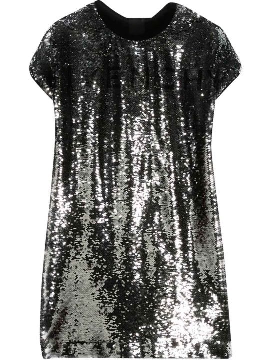 Givenchy Silver Teen Flared Dress With Sequins