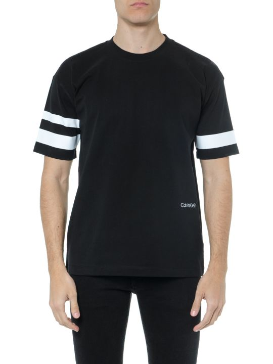Calvin Klein Black Cotton T Shirt With Stripes