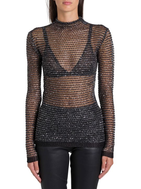 Balmain Crystal-embellished Mesh Top