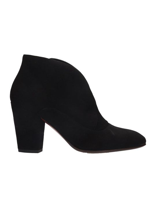 Chie Mihara Elgi  High Heels Ankle Boots In Black Suede