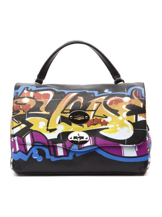 Zanellato Black Wild Style Graffiti Leather Bag