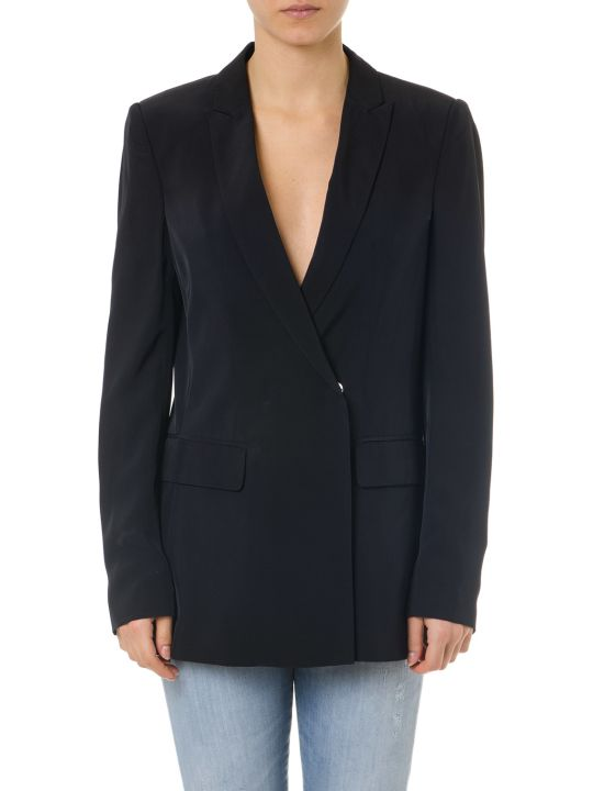 Dondup Black Viscose Single Breast Jacket