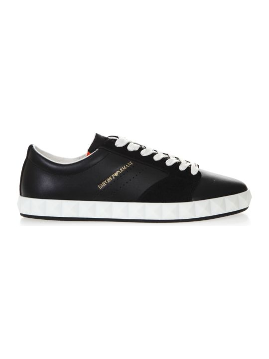 Emporio Armani Navy Blue Sneakers In Smooth And Sueded Leather