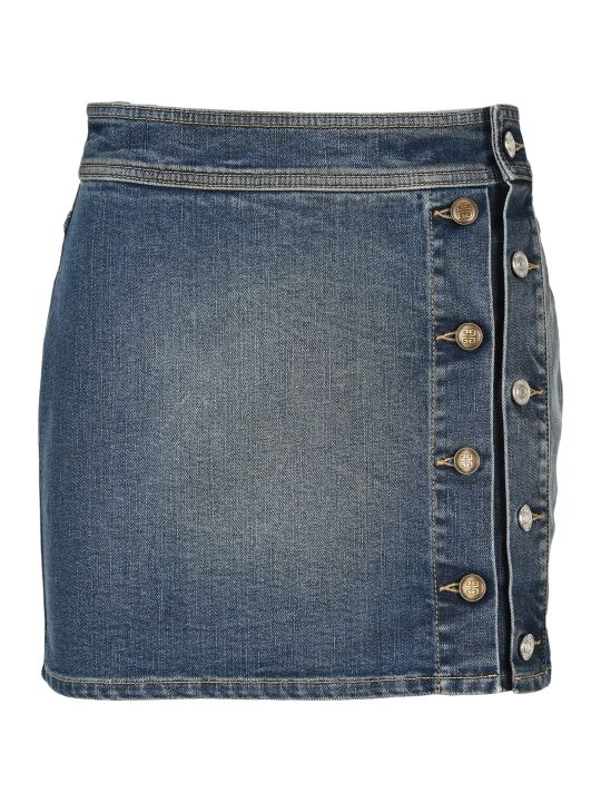 Givenchy Buttons Mini Denim Skirt