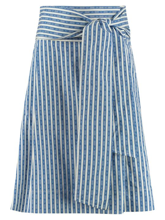 Tory Burch Gemini Print Cotton Wrap Skirt