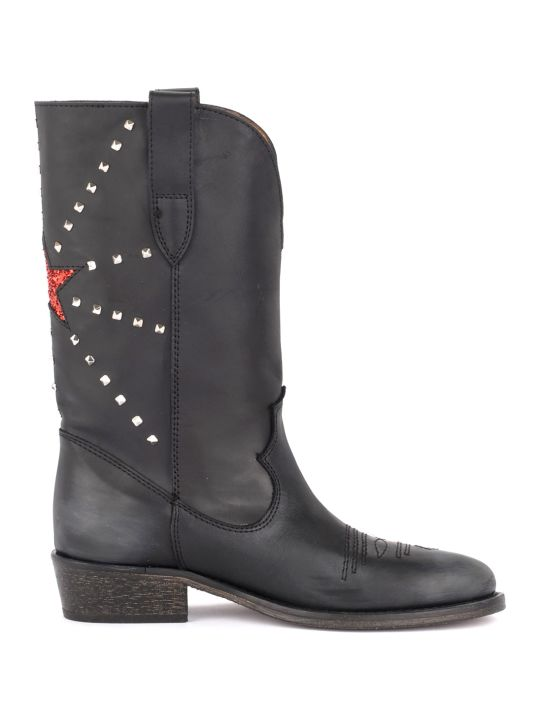 Via Roma 15 Boot In Black Leather With Red Lurex Star