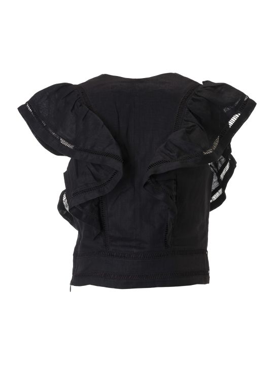 Isabel Marant Laced Ruffled Detail Cropped Top