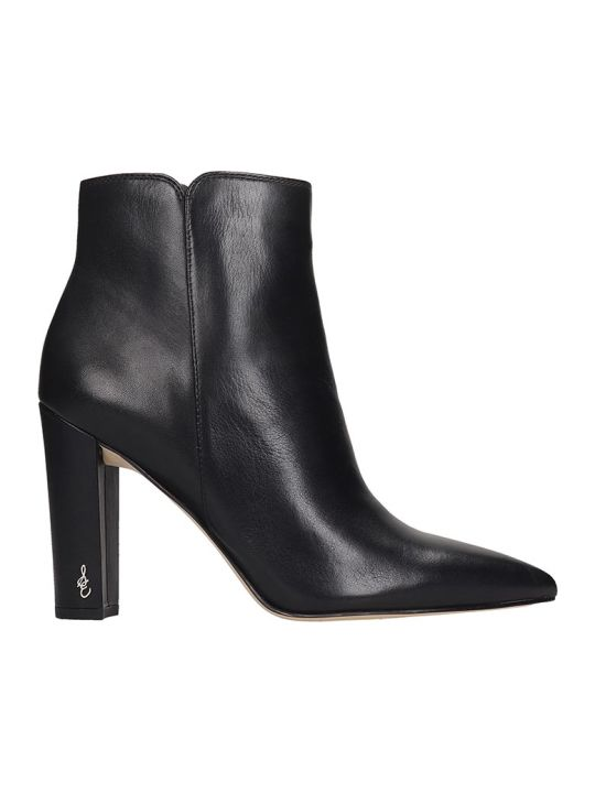 Sam Edelman Raelle High Heels Ankle Boots In Black Leather