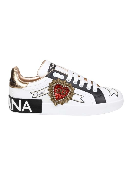 Dolce & Gabbana Portofino Sneakers In White Leather With Applications