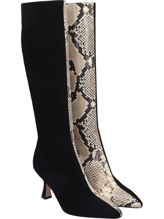 Fabio Rusconi High Heels Boots In Black Suede