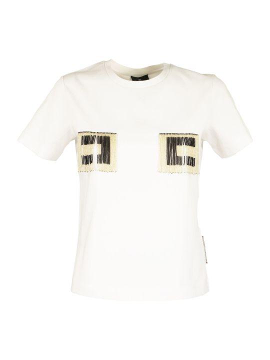 Elisabetta Franchi Celyn B. T-shirt With Logo And Beads