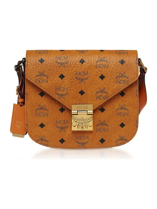 MCM Small Cognac Visetos Patricia Shoulder Bag
